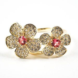 Elegant Cute Double Flower CZ Gold Silver Ring